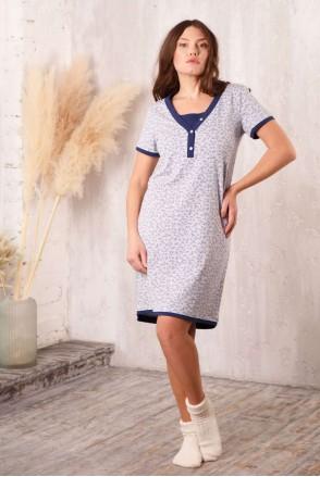 Ночная рубашка Favorite листик/т.синий для беременных и кормления
