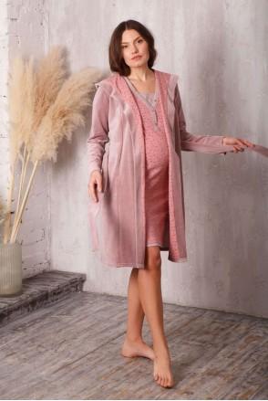 Комплект care пудровий беж / зірочка (халат велюровий з капюшоном + нічна сорочка) для вагітних і годування