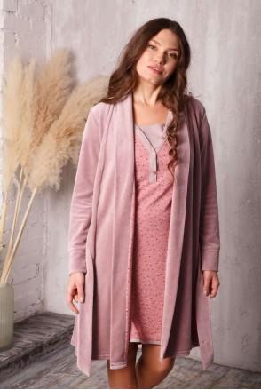 Комплект care пудровий беж / зірочка (халат велюровий + нічна сорочка) для вагітних і годування