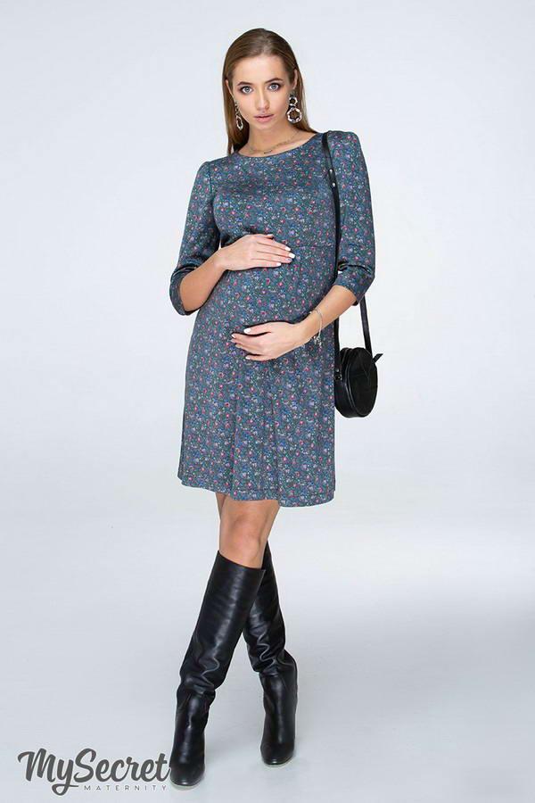 b0b9e3fff07 Платье Valentine полынный с принтом для беременных и кормящих от Юла ...