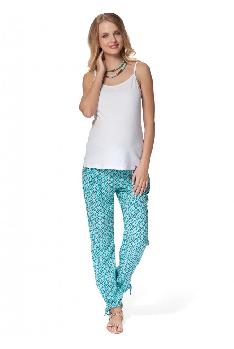 Штани БШ 01 блакитні з орнаментом для вагітних