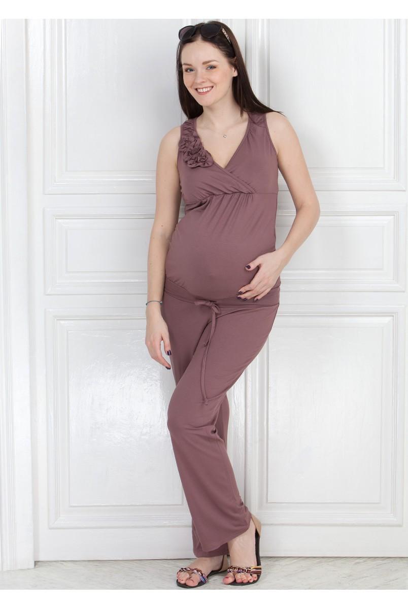 Комбинезон КВ01 темно-бежевый для беременных и кормящих