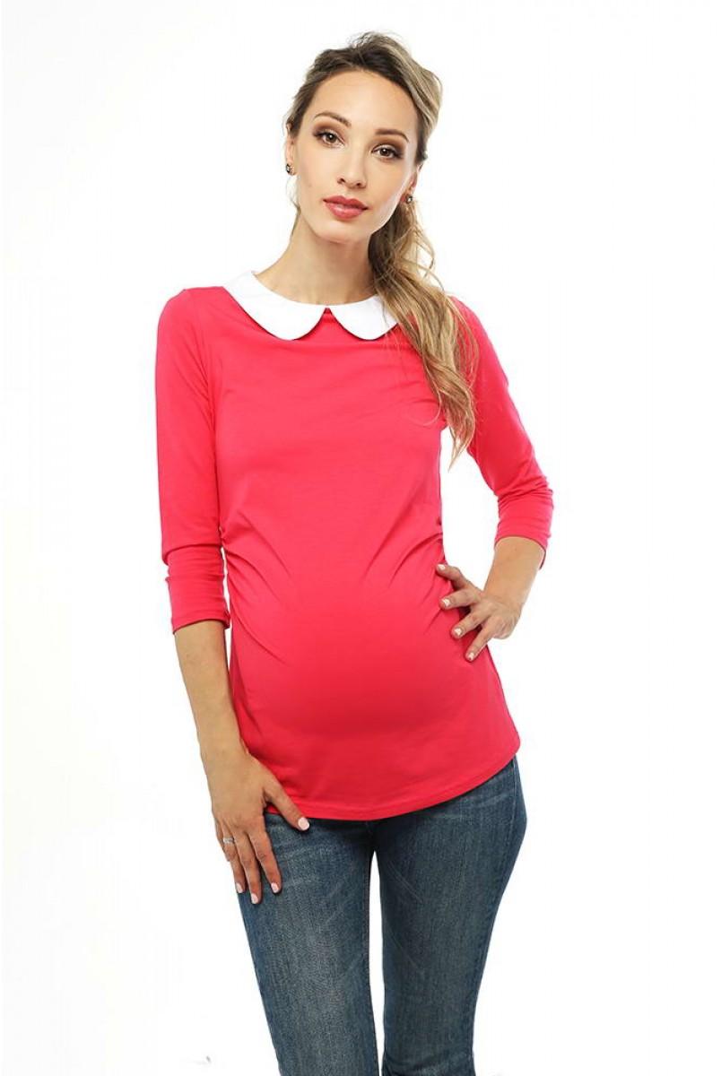 Топ з круглим коміром-малиновий для вагітних