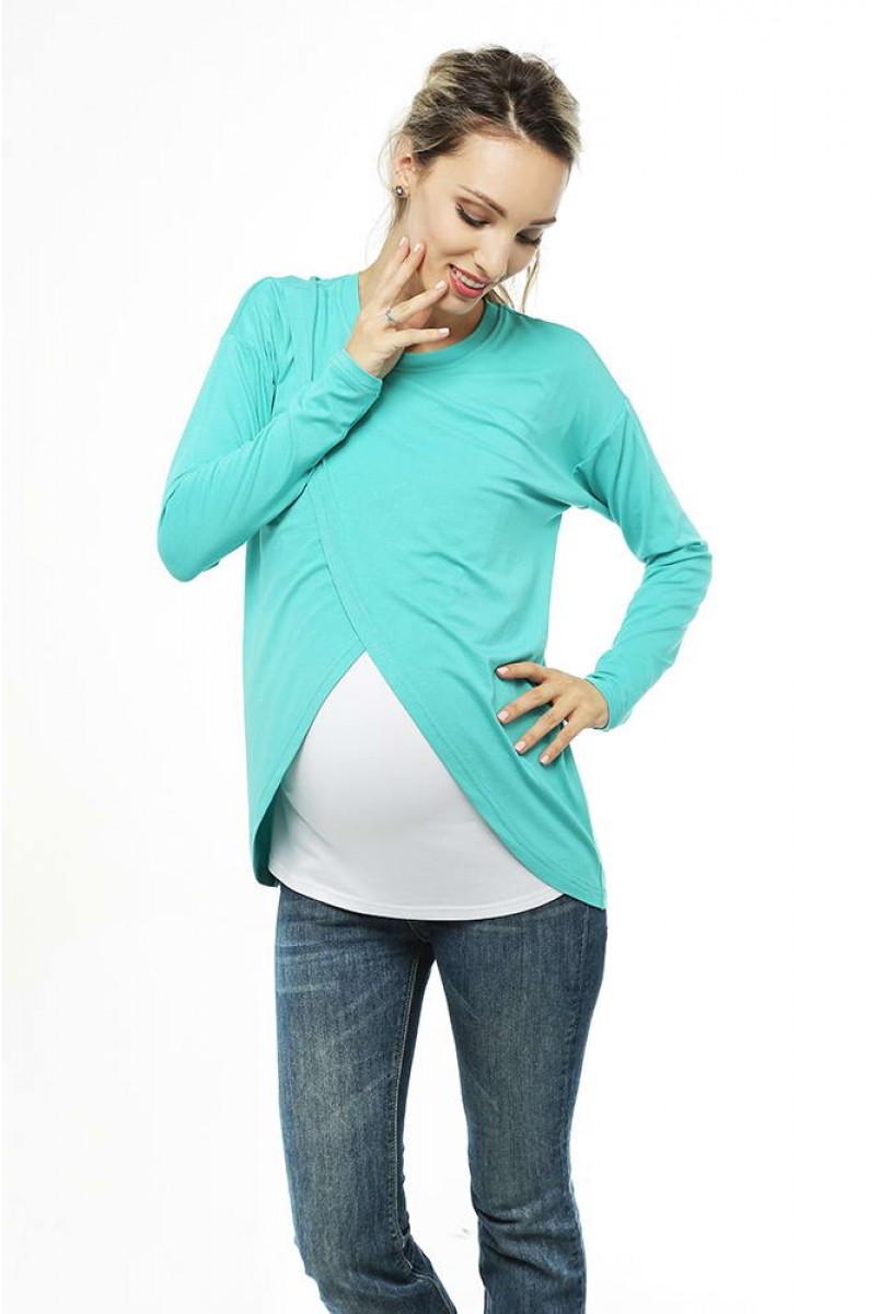 Топ с запахом Ментоловый для беременных и кормящих