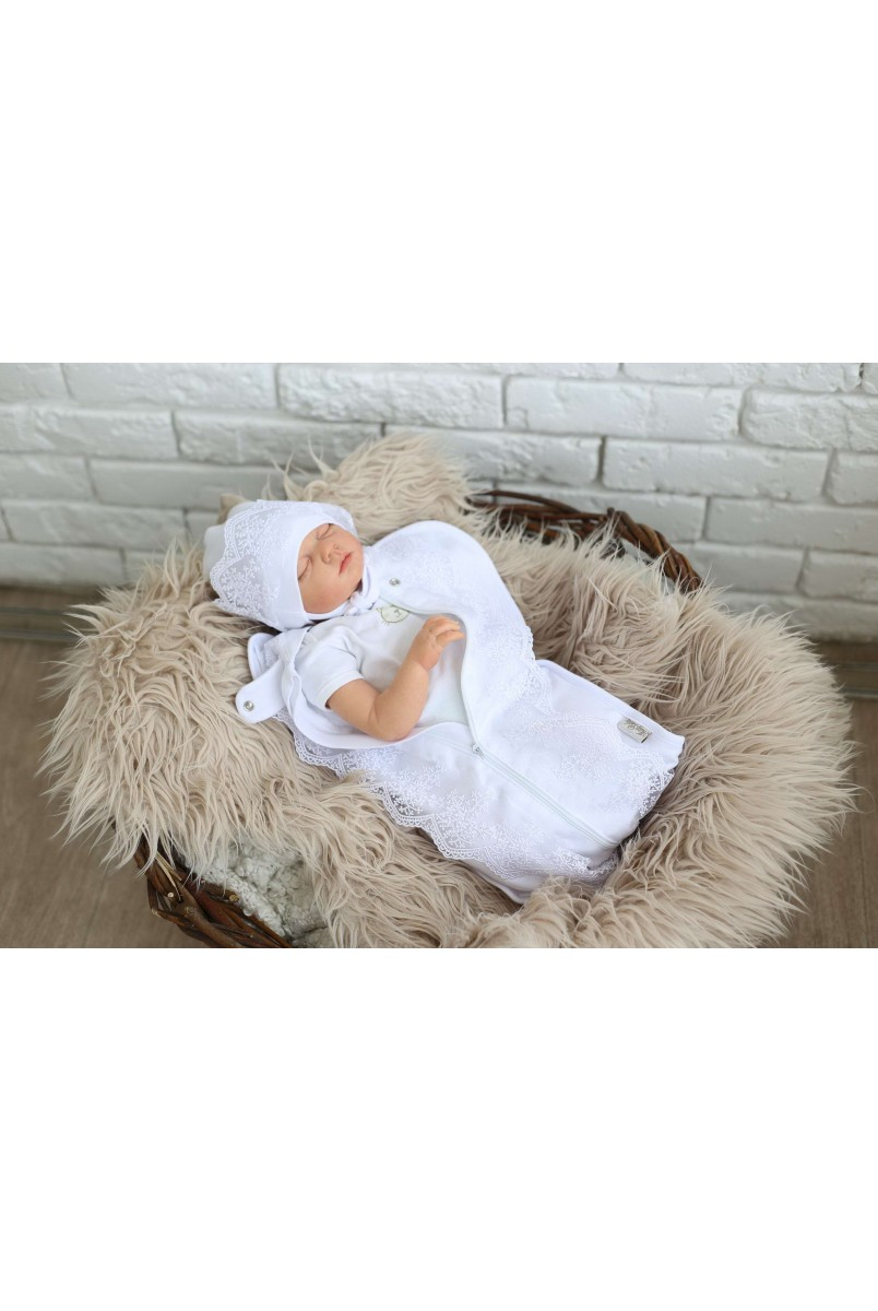 Праздничная пеленка-кокон на молнии+ шапочка