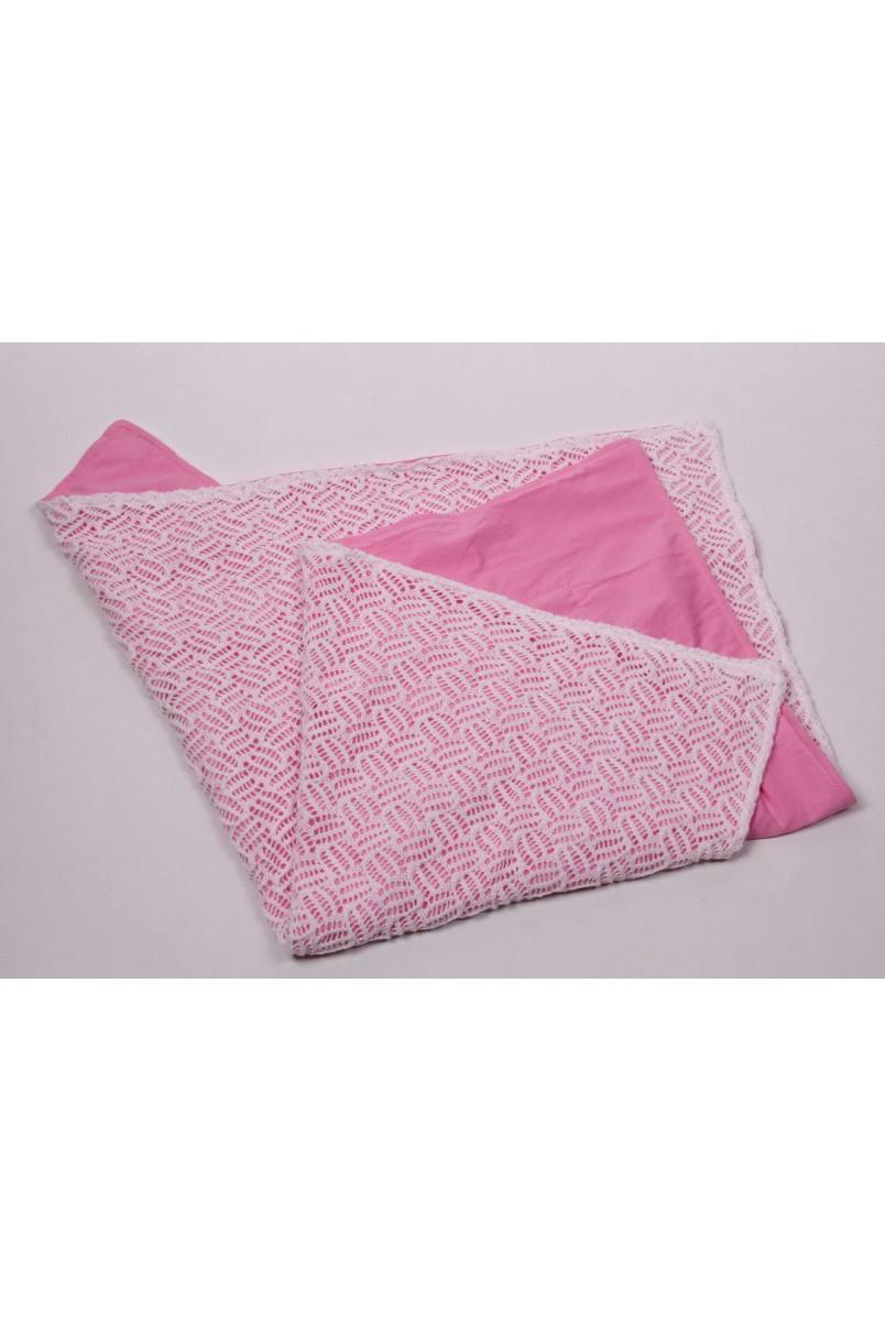 Ажурний в'язаний плед на трикотажі рожевий