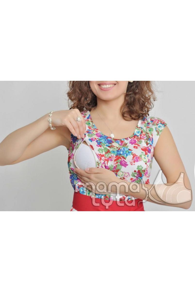 """Сукня коротка """"Біла в Квіти"""" А123.1 для вагітних і годування"""