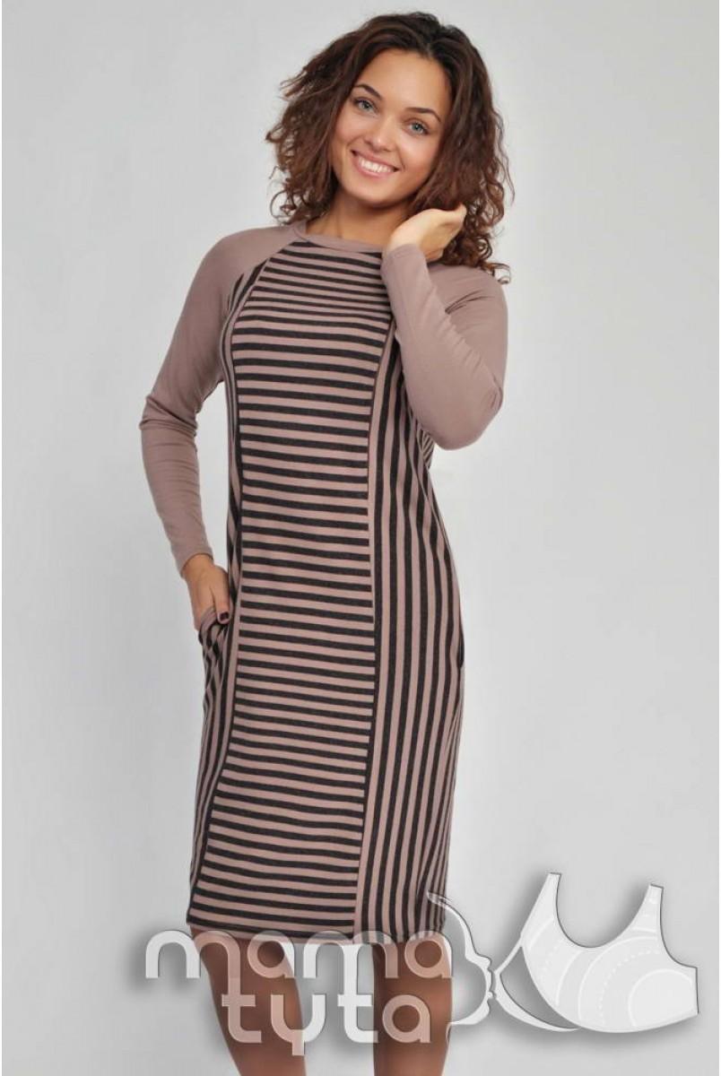 Платье Страйп А126.1 бежево-коричневая полоска для беременных и кормящих мам