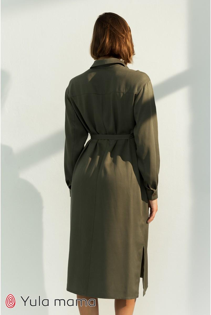 Платье-рубашка для беременных и кормления Юла мама Sabrina DR-31.052 хаки
