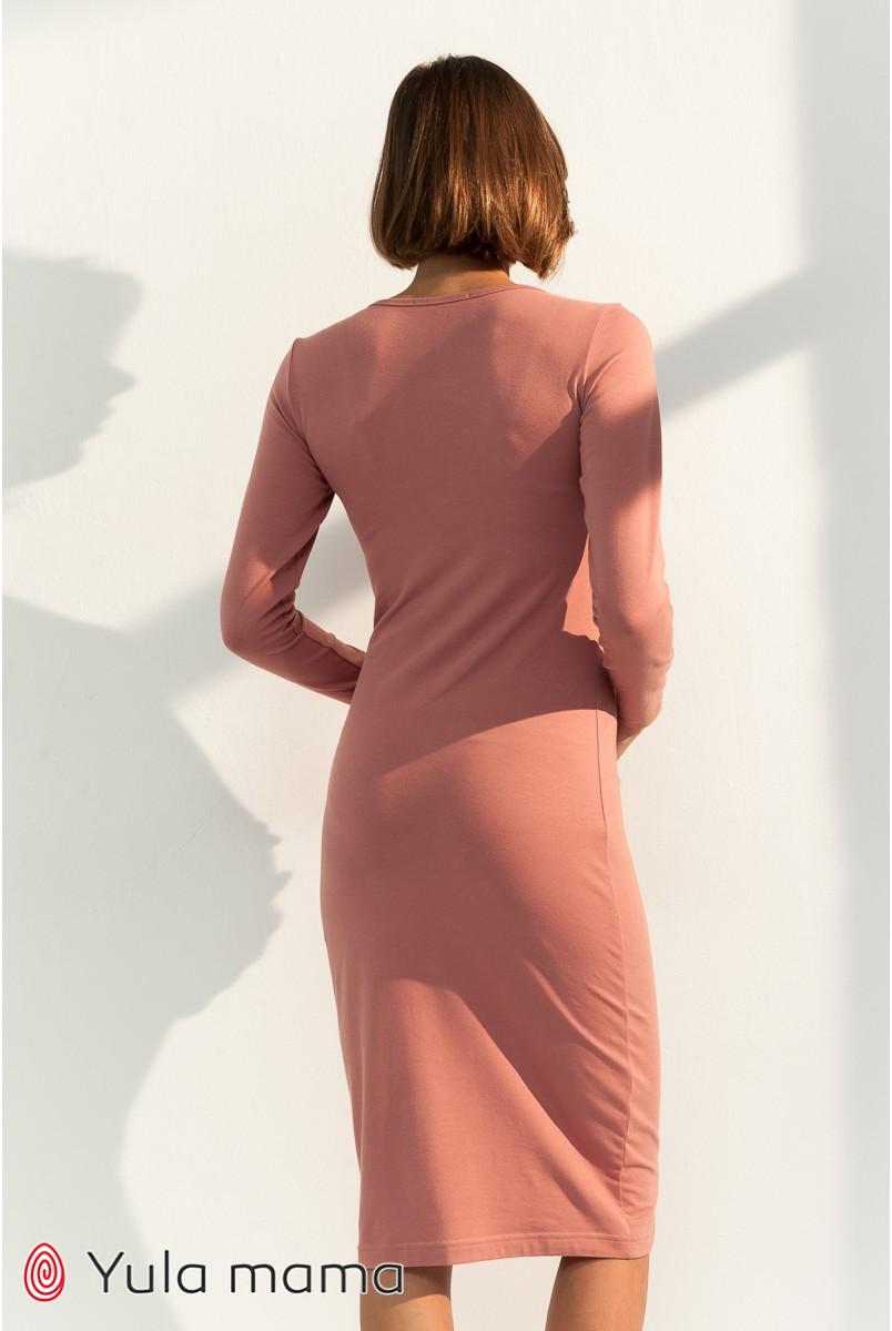 Платье для беременных и кормления Юла мама Lillian DR-31.032 темный розовый