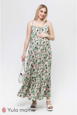 Сарафан Sheyla розовые лотосы на мятном фоне для беременных и кормления