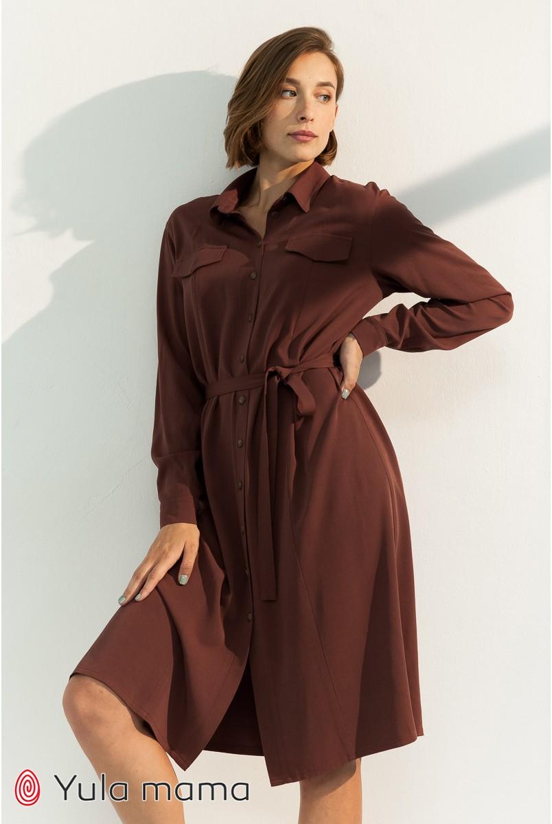 Платье-рубашка для беременных и кормления Юла мама Sabrina DR-31.051 шоколад