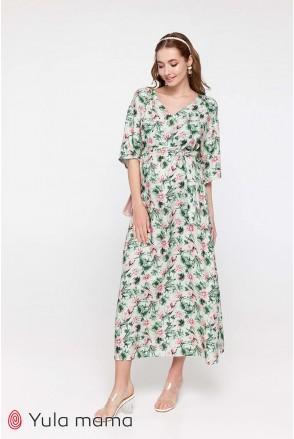 Платье Fey принт розовые лотосы на мятном фоне для беременных и кормления