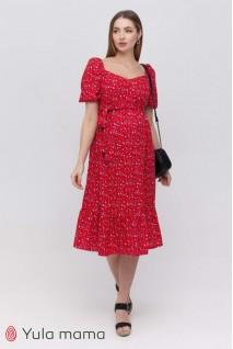Платье Federica голубые цветочки на красном фоне для беременных и кормления