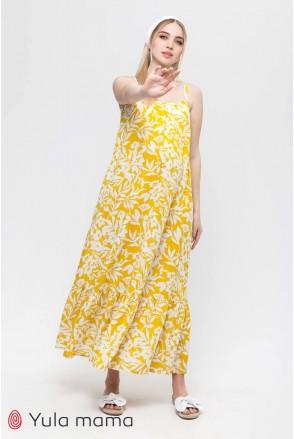 Сарафан Sheyla крупные молочные цветы на желтом фоне для беременных и кормления