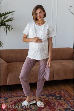Хлопковые брюки для беременных Юла мама Lynn NW-5.9.1 капучино