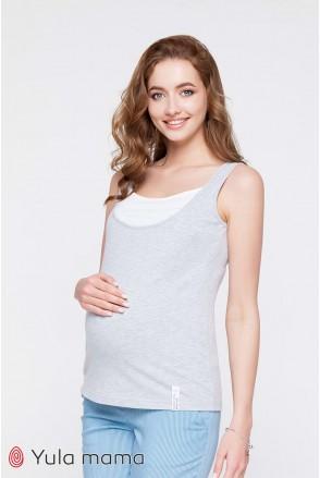 Майка Tilla NR - 21.081 сірий меланж з білим для вагітних і годування