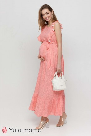 Платье Freya коралл с молочным горошком для беременных и кормления
