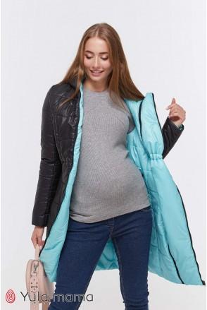 Зимнее двухстороннее пальто Kristin (черный с минтом) для беременных