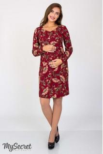Платье Florianna цветы на бордовом фоне для беременных и кормящих