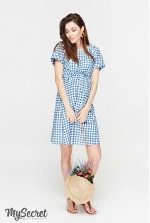 Сукня Sherry джинсово-синій в клітинку для вагітних та годування