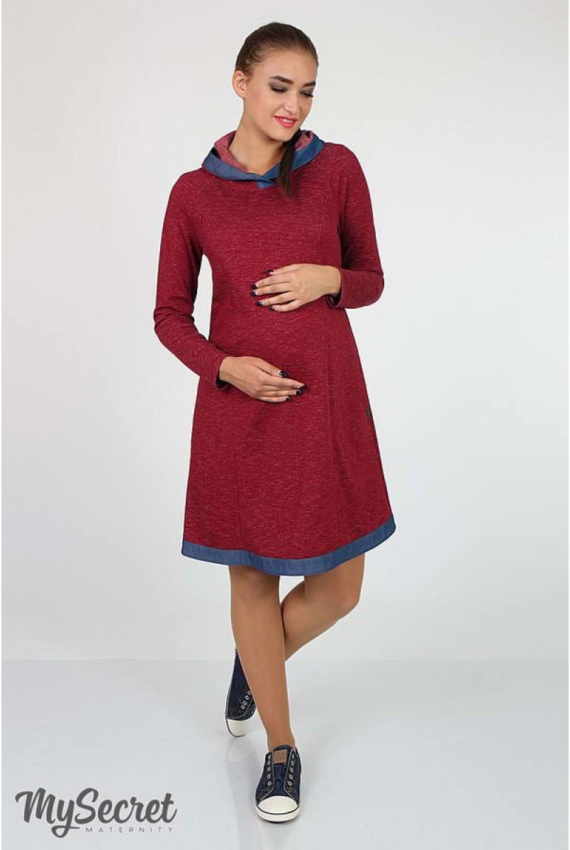 Платье Lein бордовый меланж + синий джинс для беременных и кормящих