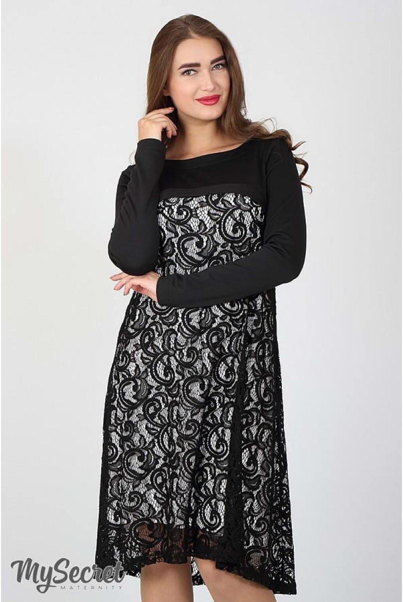 Платье Loren черный с молоком для беременных и кормящих