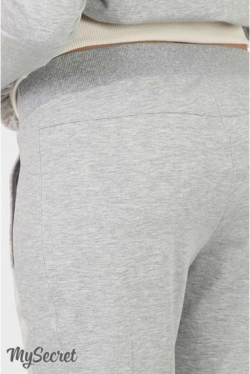 Брюки-джоггеры Davi light серый меланж+серо-бежевый жаккард для беременных
