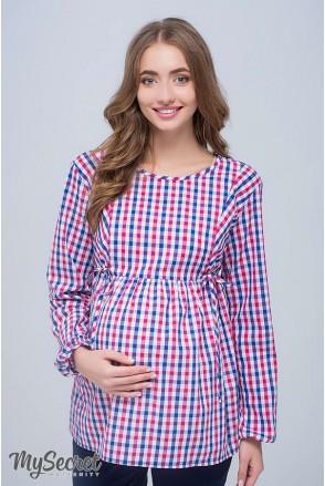 Блуза Shade new сине-бело-малиновая клетка для беременных и кормящих