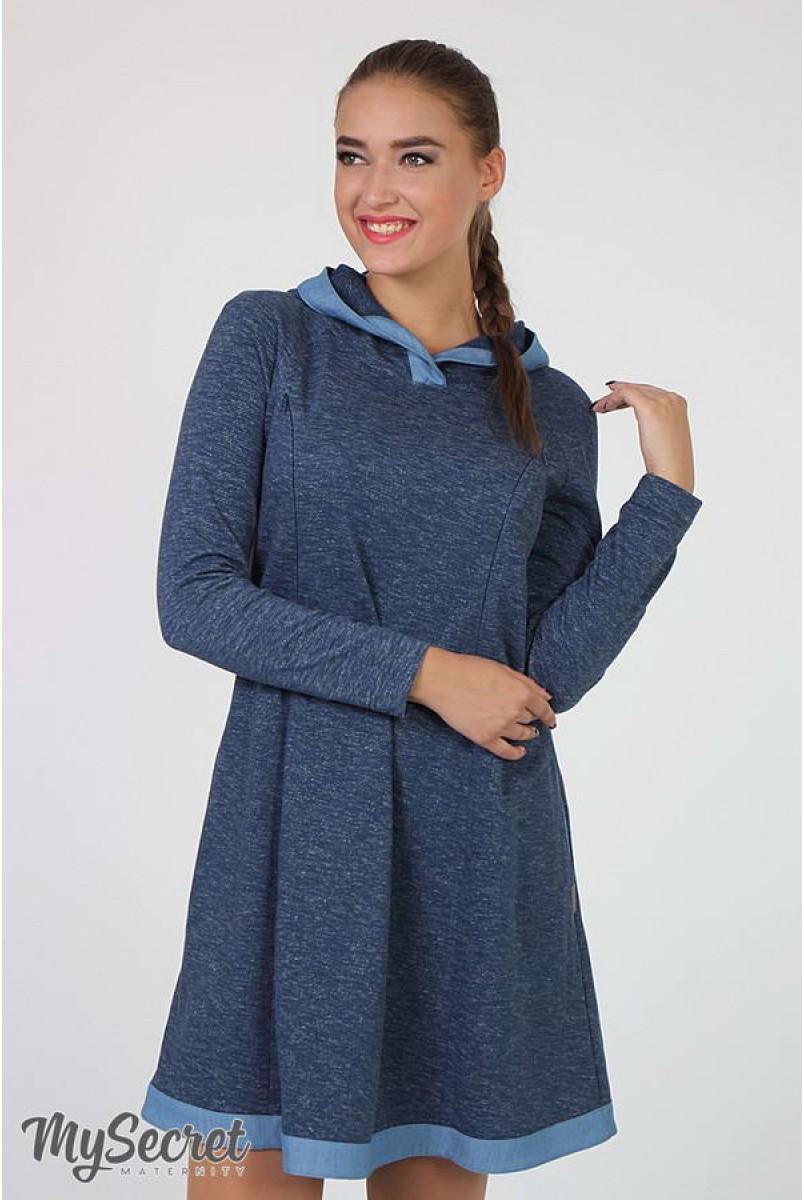 Сукня Lein джинсово-синій меланж + блакитний джинс для вагітних і годування