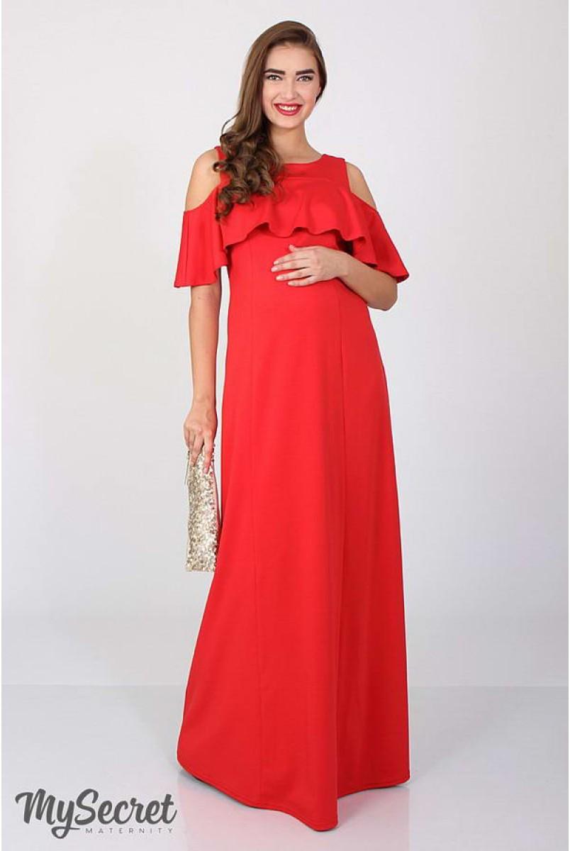 Платье Delicate алый для беременных и кормящих