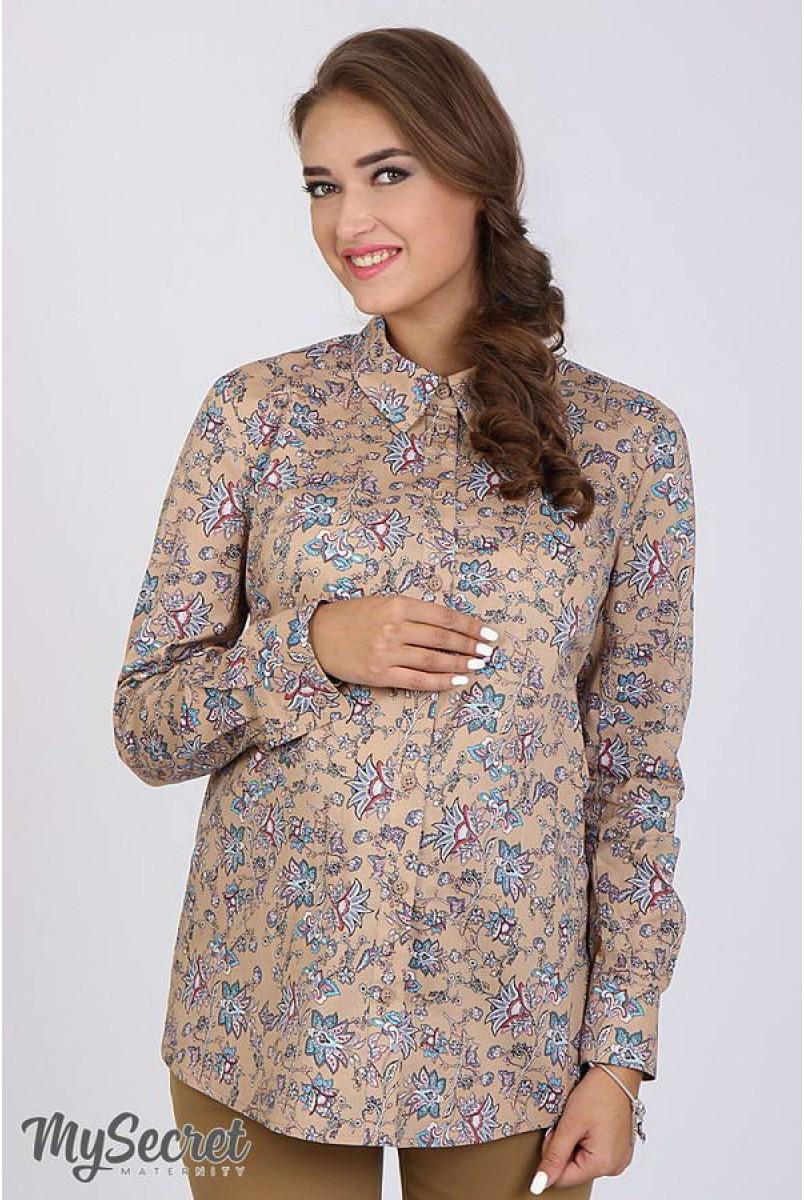 Рубашка Noni принт «цветы» на бежевом фоне для беременных