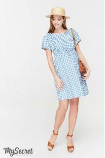 Сукня Sherry джинсово-блакитний в клітинку для вагітних та годування