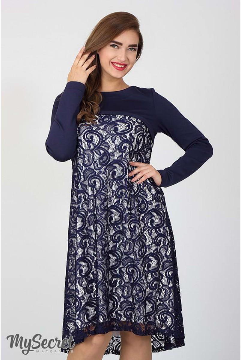 Платье Loren темно-синий с молоком для беременных и кормящих