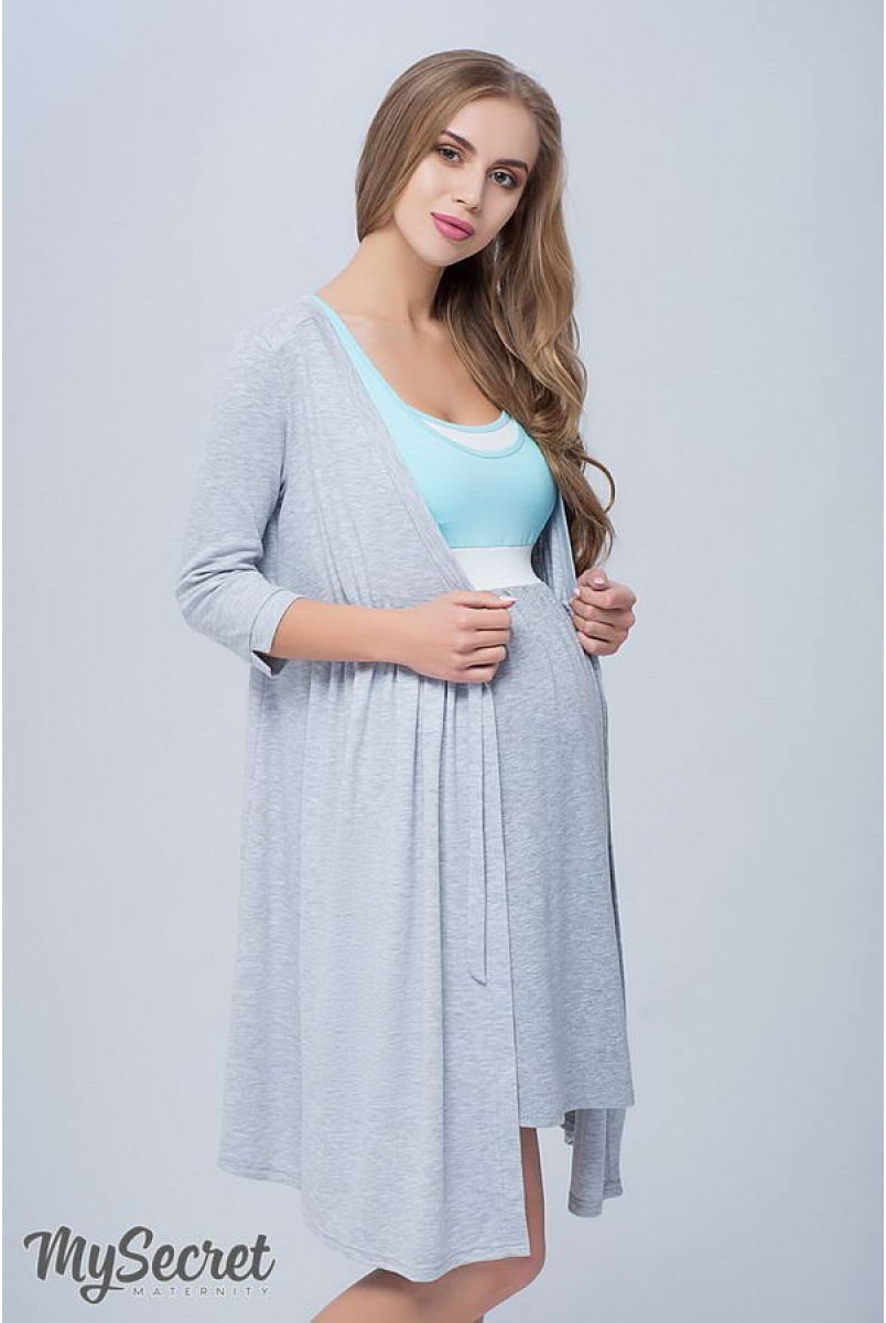 Халат Sinty сірий меланж для вагітних і годування