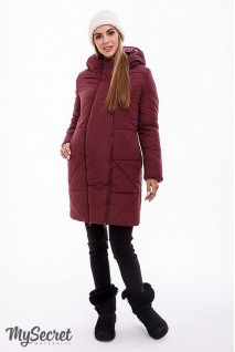 Зимнее теплое пальто ANGIE марсала для беременных