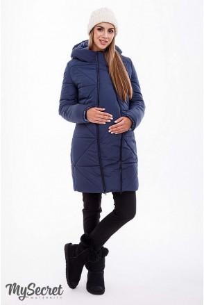 Зимнее теплое пальто ANGIE синий для беременных