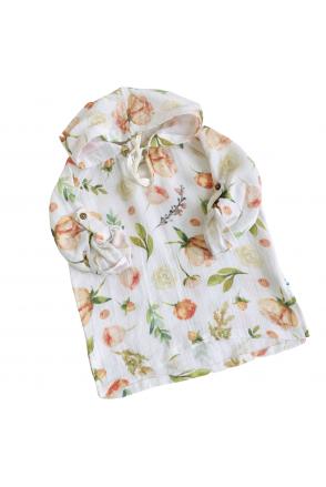 Туника муслиновая для детей Embrace белая в розовые пионы