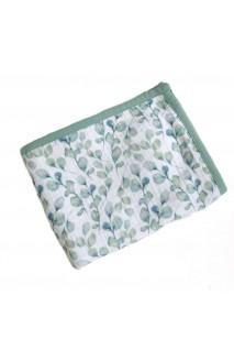 Плед мусліновий для дітей Embrace 4 шари Зелені листочки