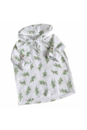 Туника муслиновая для детей Embrace белая в зеленые листочки