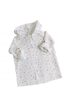 Туника муслиновая для детей Embrace белая в цветные капельки