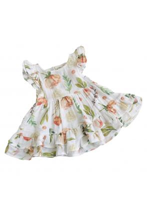 Платье муслиновое для девочки Embrace белое в персиковые пионы