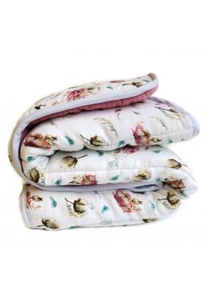 Одеяло муслиновое с утеплителем Хлопок с цветами