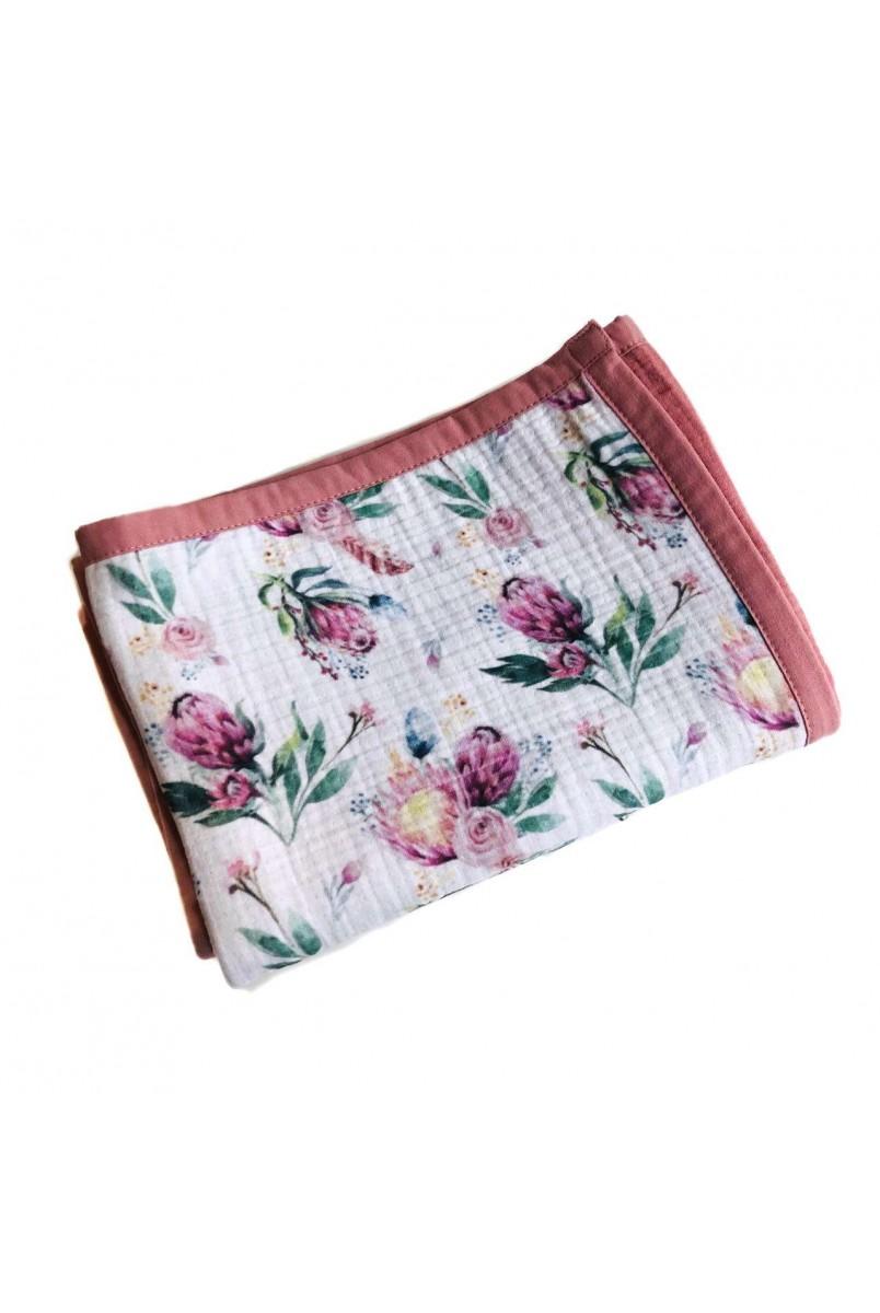 Плед мусліновий 8 шарів Рожеві квіти