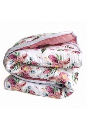 Одеяло муслиновое с утеплителем Розовые цветы