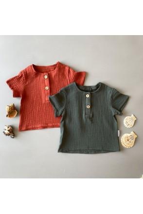 Набор муслиновых футболок для детей Boonyx Brick+Kale