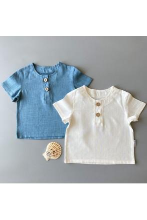 Набор льняных футболок для детей Boonyx Milk+Sea