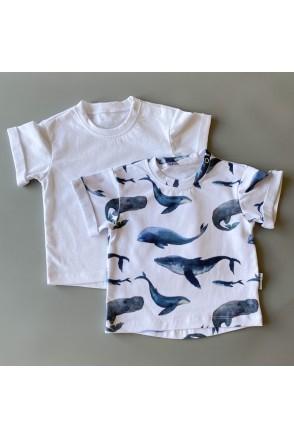Набор футболок для детей Boonyx Whales+White