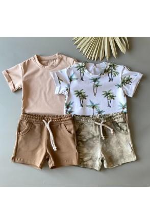 Набор для детей Boonyx шорты Tie Dye+Chocolate + футболка Palms+Beige