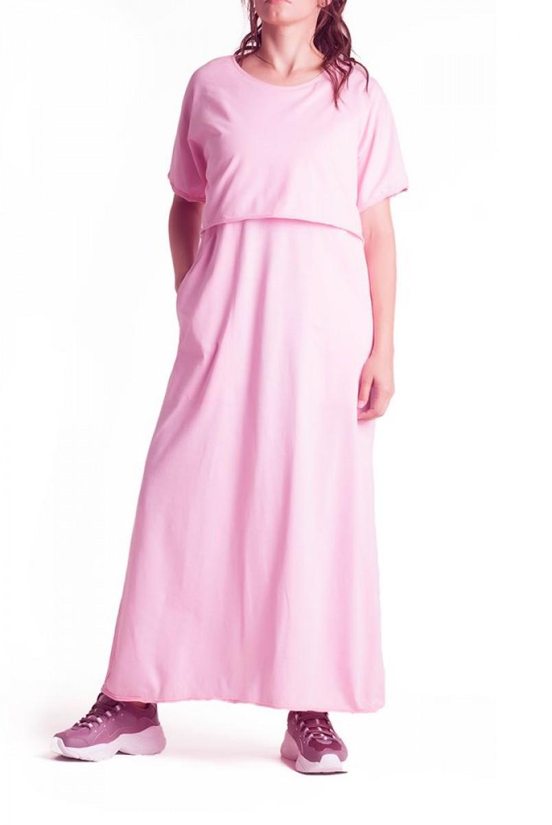 Платье арт. S200101 розовое для беременных и кормления